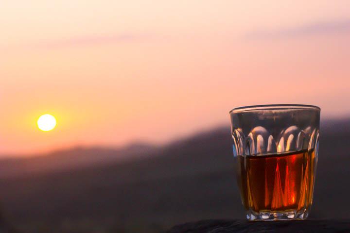 Having tea at sunset in Jordan