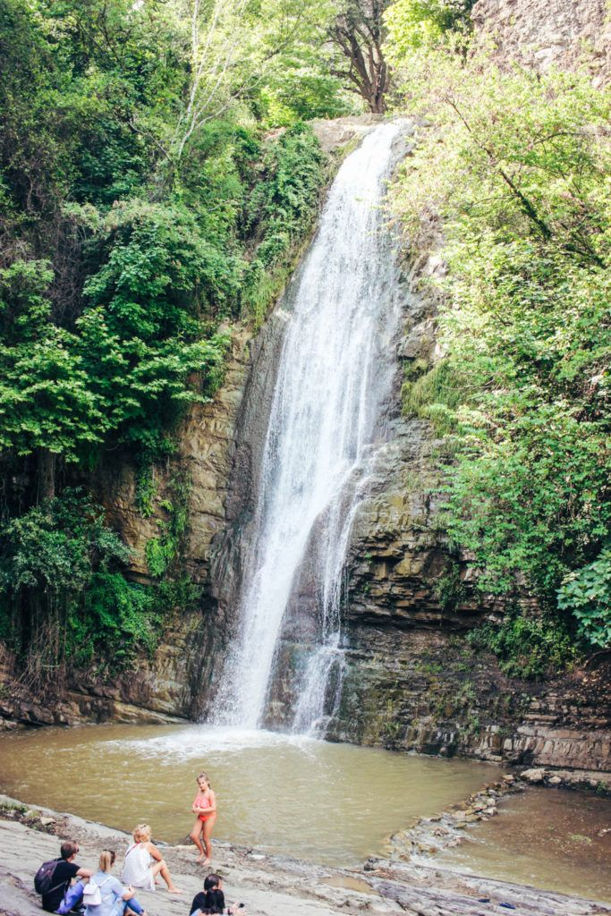 The sulfur waterfall in the Tbilisi botanical gardens