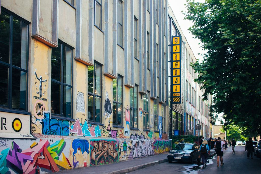 The colorful exterior of Fabrika hostel