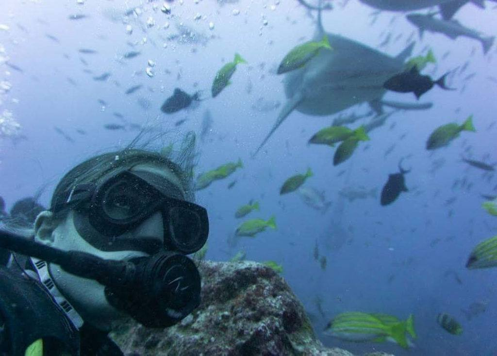 Scuba-diving with a shark in Fiji
